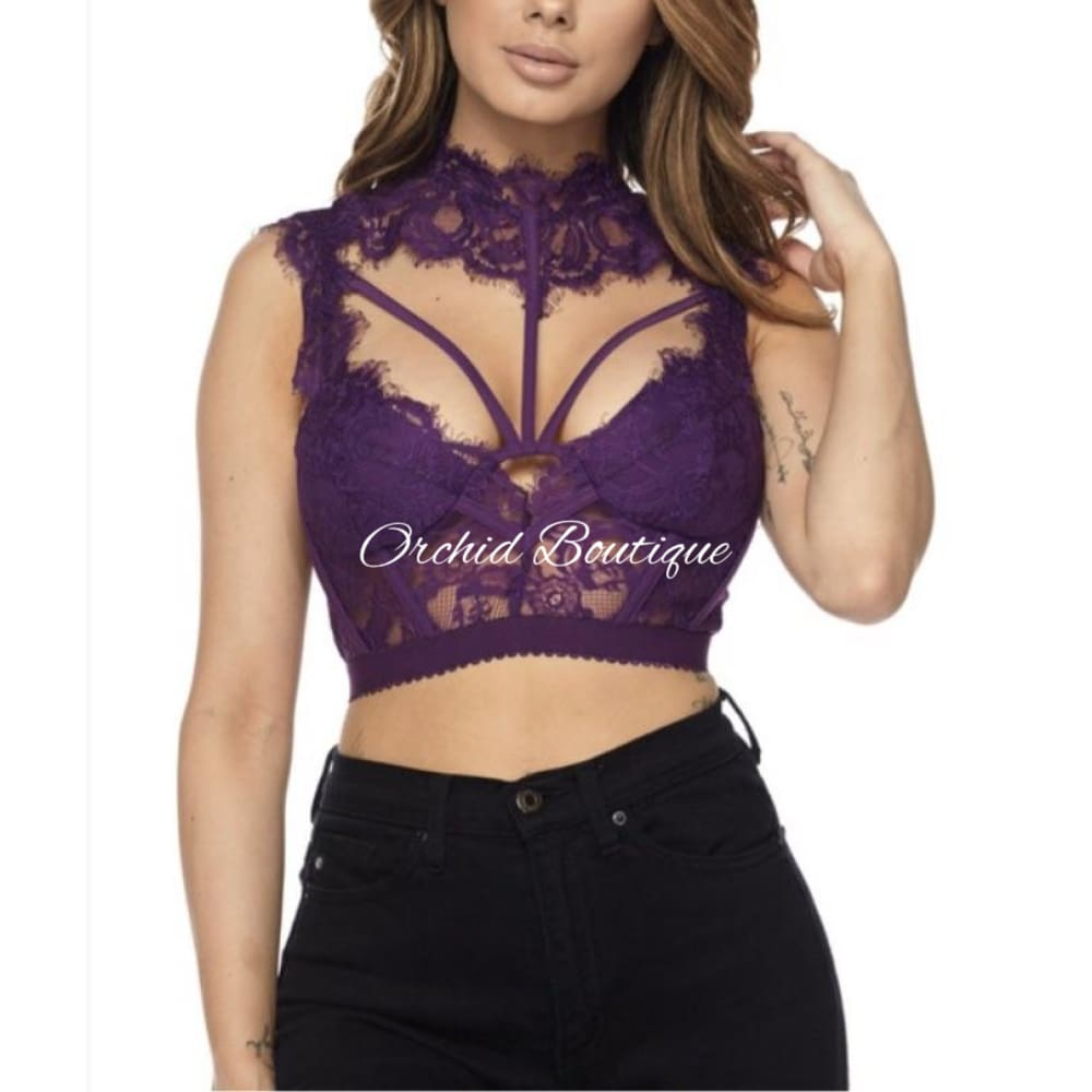 Kelly Eggplant Lace Mock Neck Crop Top - Orchid Boutique