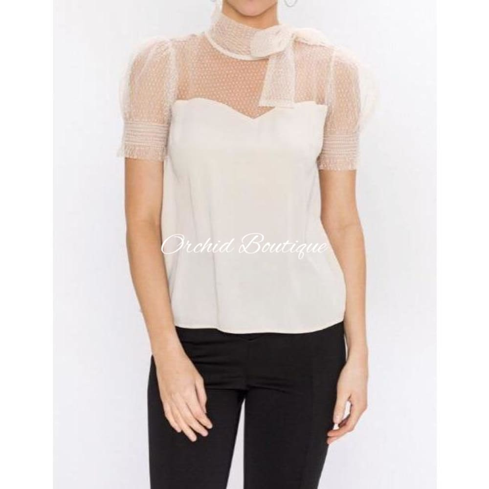 Kendra Nude Neck Tie Blouse - Orchid Boutique