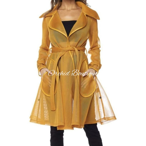 Kim Mustard Mesh Trench Jacket - Orchid Boutique