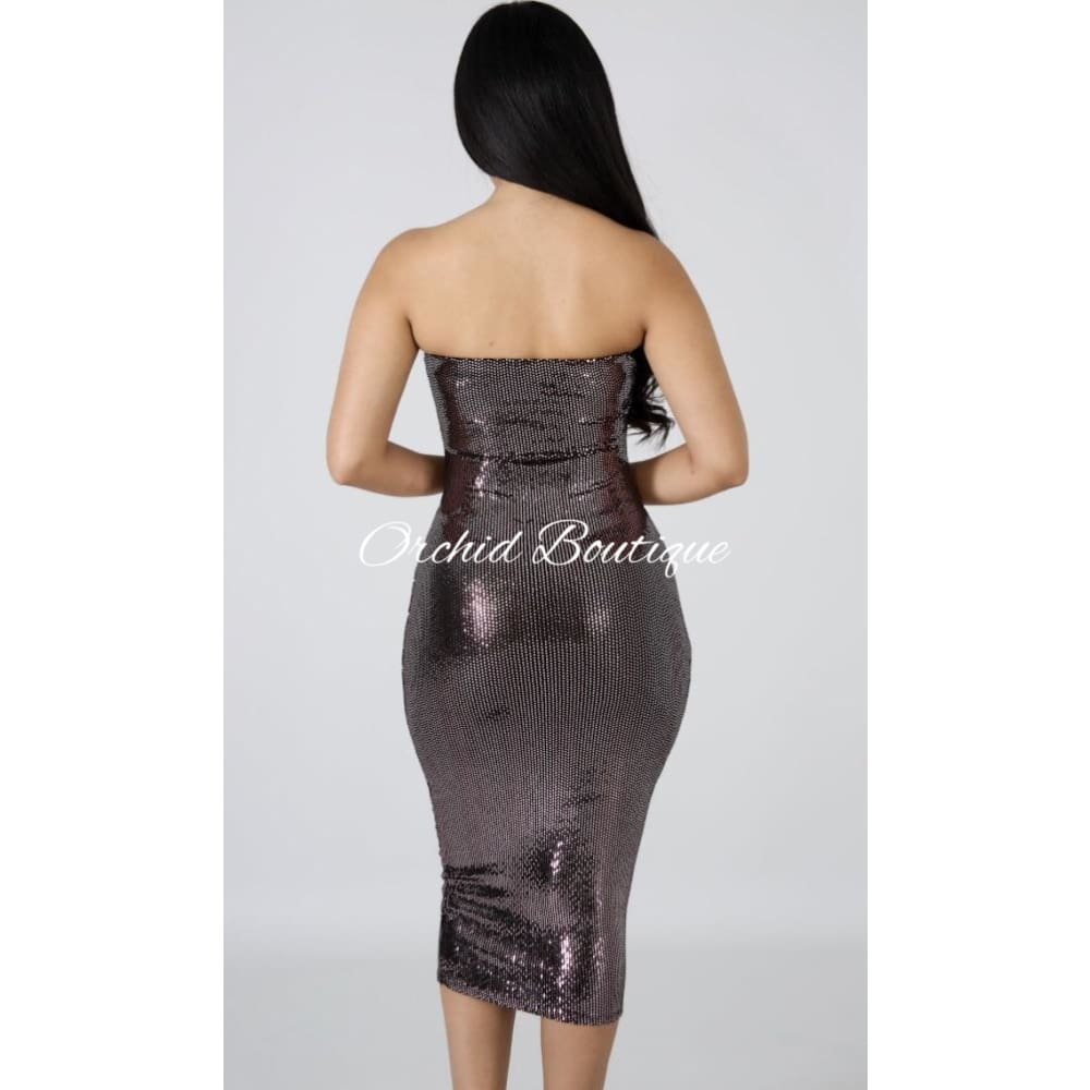 Kimmy Pink Shine Midi Dress - Orchid Boutique