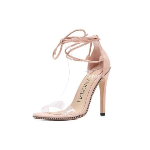 Lace me up Nude Heels - Orchid Boutique