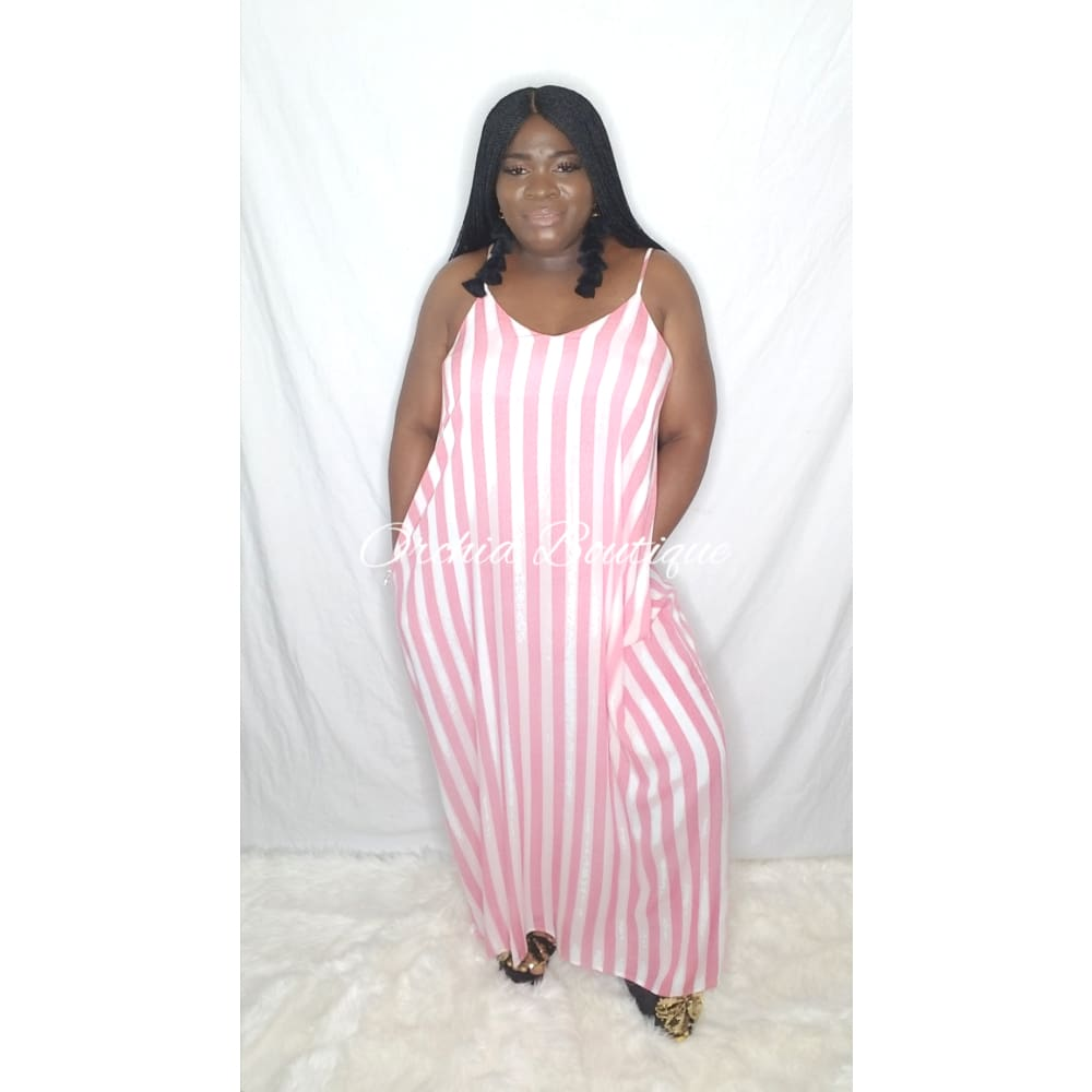 Lisa Red Stripe Maxi Dress - Orchid Boutique