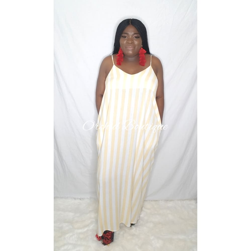 Lisa Yellow Stripe Maxi Dress - Orchid Boutique