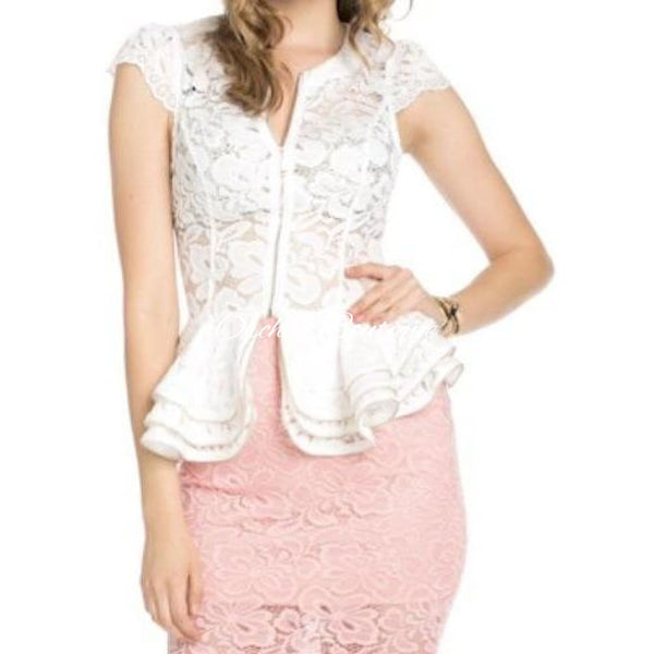 Lucy White Lace Peplum Blouse - Orchid Boutique
