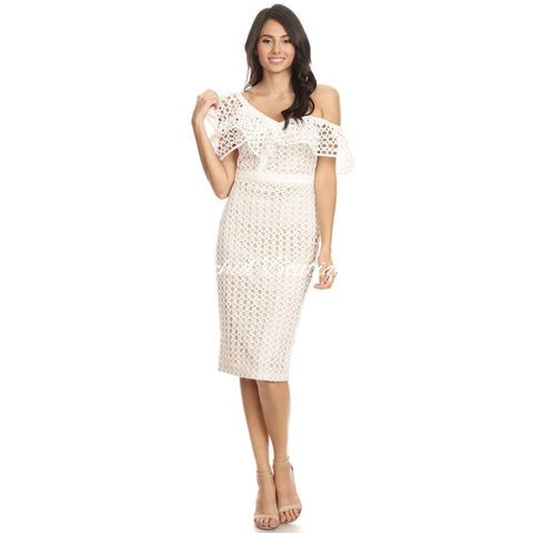 Lulu Lace Cutout White Midi Dress - Orchid Boutique