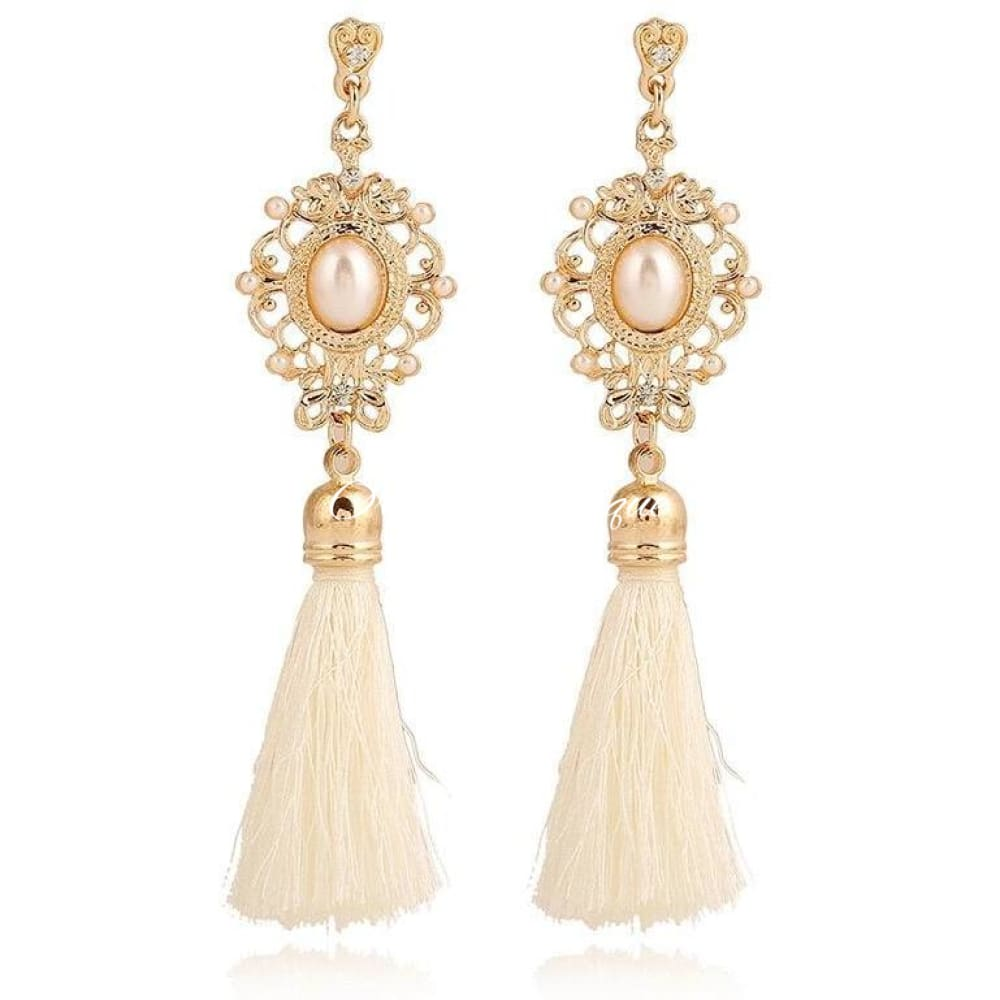 Luna Cream Pearl Tassel Earrings - Orchid Boutique