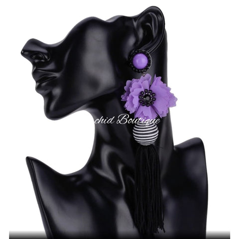 Makai Purple Beaded Flower Chandelier Earrings - Orchid Boutique