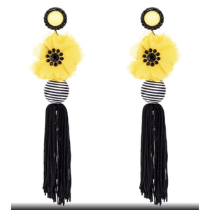 Makai Yellow Beaded Flower Chandelier Earrings - Orchid Boutique