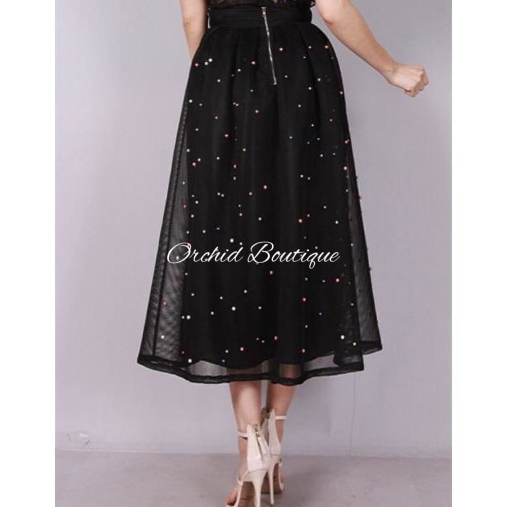 Marlo Black Multicolor Pearl Skirt - Orchid Boutique