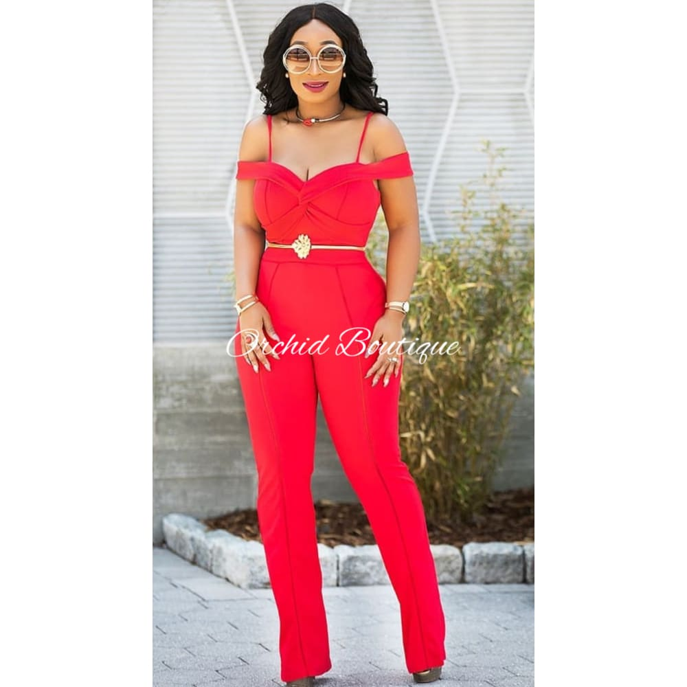 Miley Cold Shoulder Red Jumpsuit - Orchid Boutique