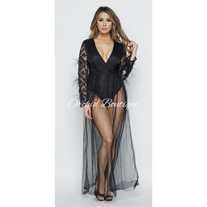 Mimi Black Lace Feather Maxi Dress - Orchid Boutique