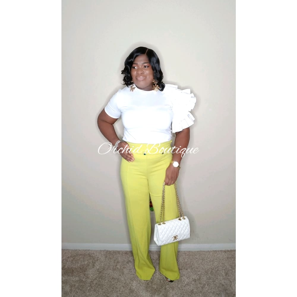 Mimi Jeweled Lime Luxe Pant - Orchid Boutique