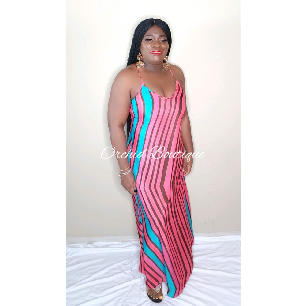 Molly Fucshia Stripe Maxi Dress - Orchid Boutique