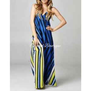 Molly Turquiose Stripe Maxi Dress - Orchid Boutique
