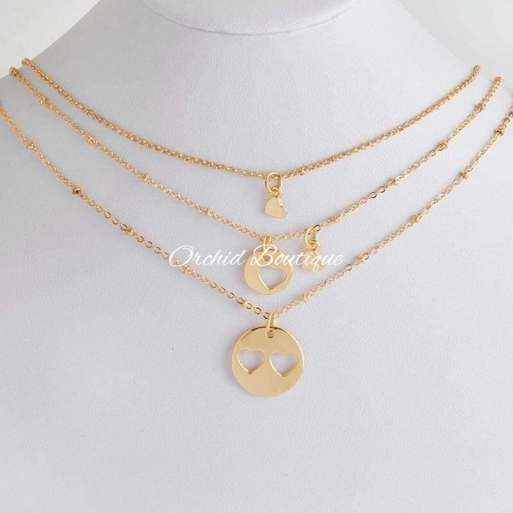 MommyandDaughters Goldtone Heart Set - Orchid Boutique