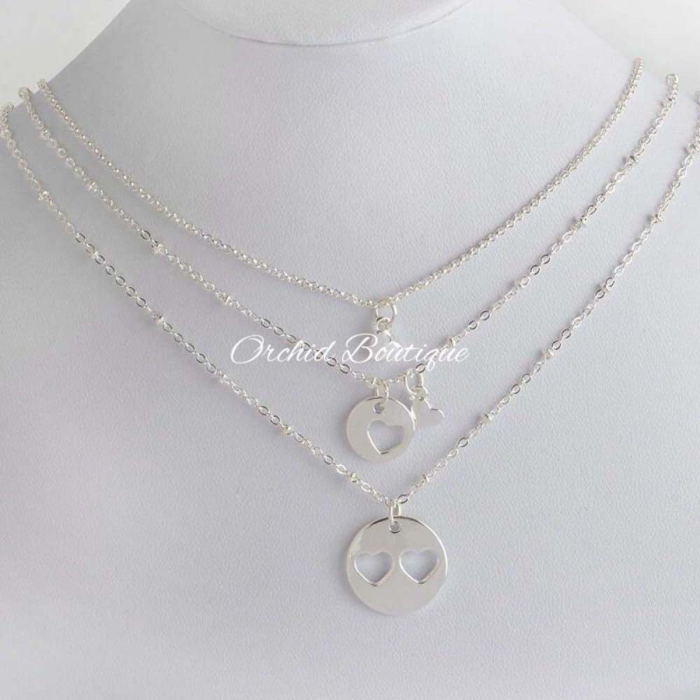 MommyandDaughters Silvertone Heart Set - Orchid Boutique