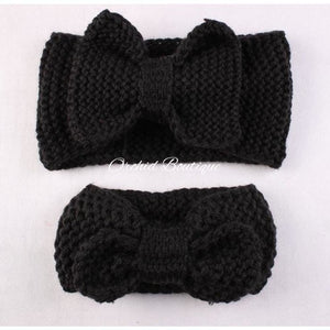 MommyandMe Black Crochet Bow Set - Orchid Boutique