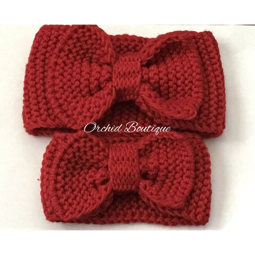 MommyandMe Red Crochet Bow Set - Orchid Boutique