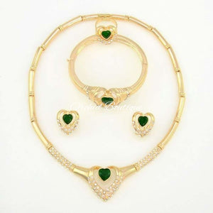 Mona Emerald Heart Diamond Crystal Set - Orchid Boutique