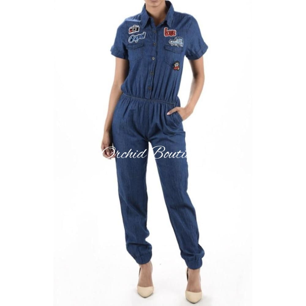 Nancy Dark Rinse Denim Jumpsuit - Orchid Boutique