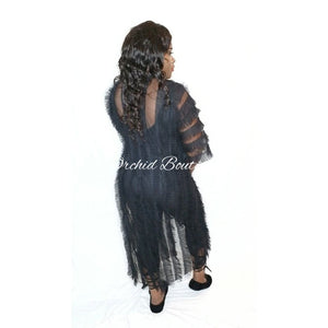 Naomi Black Mesh Cardigan - Orchid Boutique