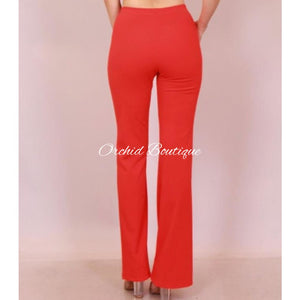 Naomi Red Buttons Pant - Orchid Boutique