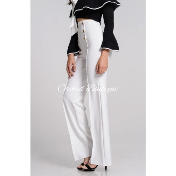 Naomi White Buttons Pant - Orchid Boutique