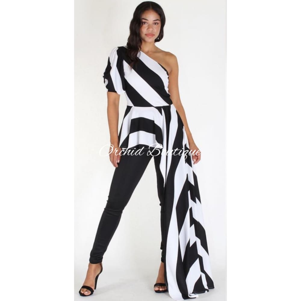 Nichele Black Stripe One shoulder Blouse - Orchid Boutique