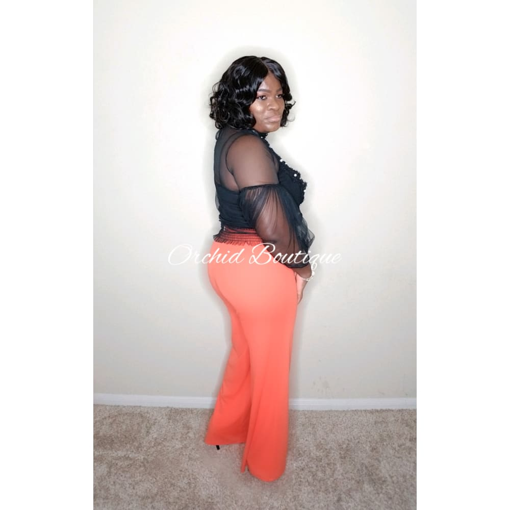 Nicole Orange Wide Leg Pant - Orchid Boutique
