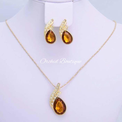 Nina Citrine and White Zircon Set - Orchid Boutique