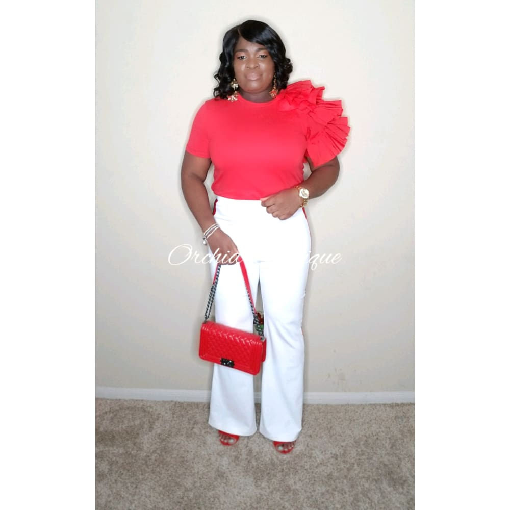 Not so Basic Red Ruffles Tee - Orchid Boutique
