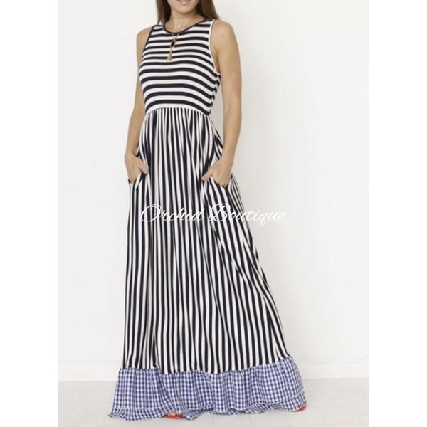 Nyema Black and White Stripes and Gingham Maxi Dress - Orchid Boutique