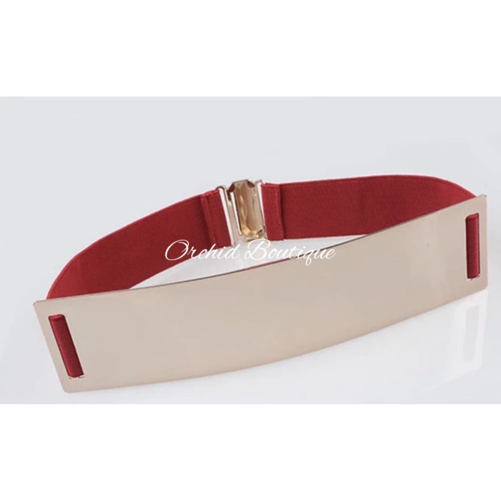 Paula Red Stretchy Gold Bar Belt - Orchid Boutique
