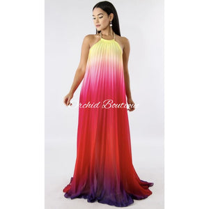 Pink Ombré Pleated Maxi Dress Dresses