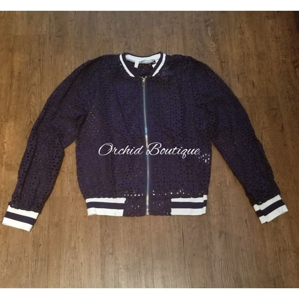 Poland Navy Lace Bomber Jacket Jacket