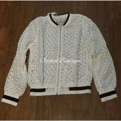 Poland White Lace Bomber Jacket Jacket