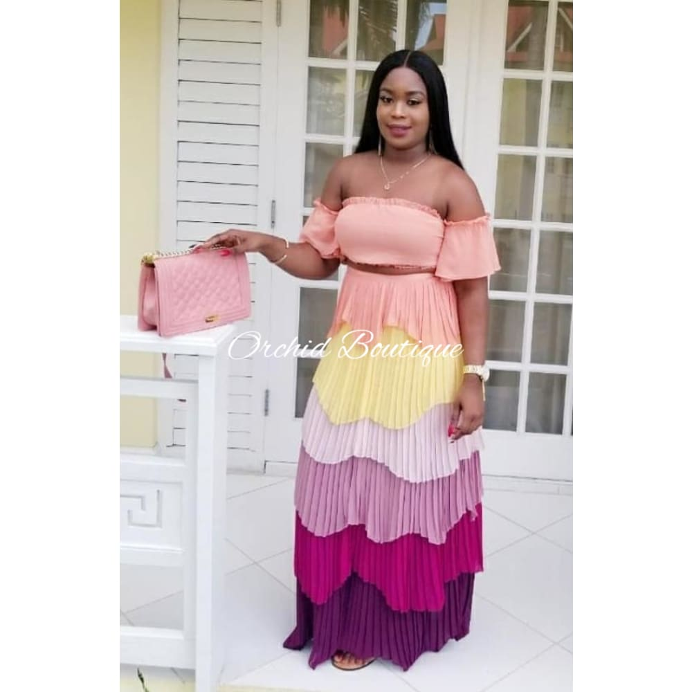 Princess Rainbow Pleated Two Piece Set Skirt Set