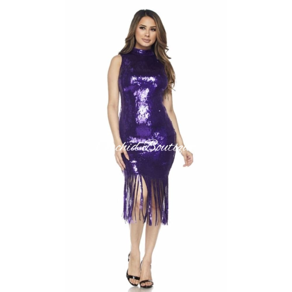 Purple Rain Sequins Midi Dress Dresses