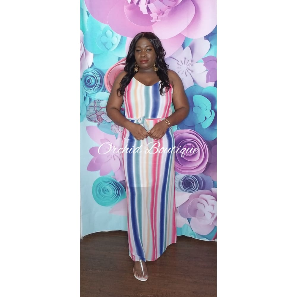 Rainbow Pink Striped Maxi Dress Dresses