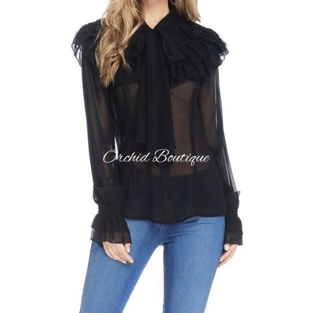 Regan Black Ruffle Shirt Shirt