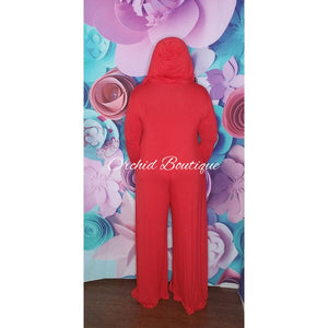 Robin Red Hooded Jumpsuit Jumpsuit