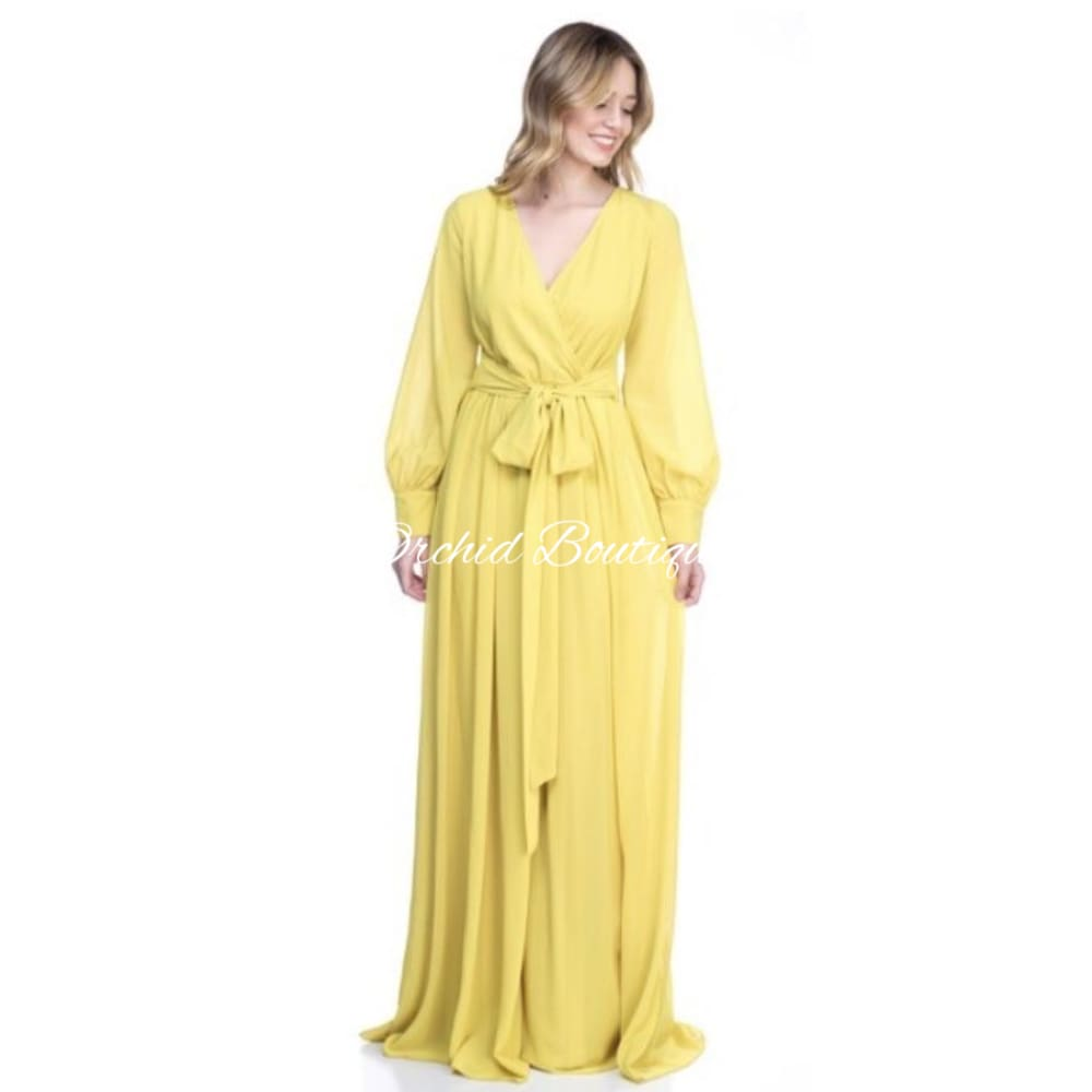 Rochelle Mustard Wrap Maxi Dress Dresses