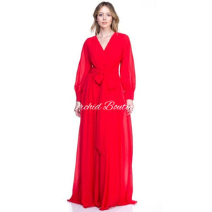 Rochelle Red Wrap Maxi Dress Dresses