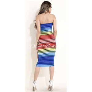 Rosa Rainbow Strapless Bodycon Midi Dress Dresses