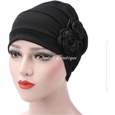 Rose Black Slip On Turban Turban