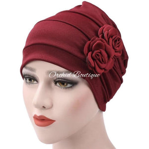 Rose Burgundy Slip On Turban Turban