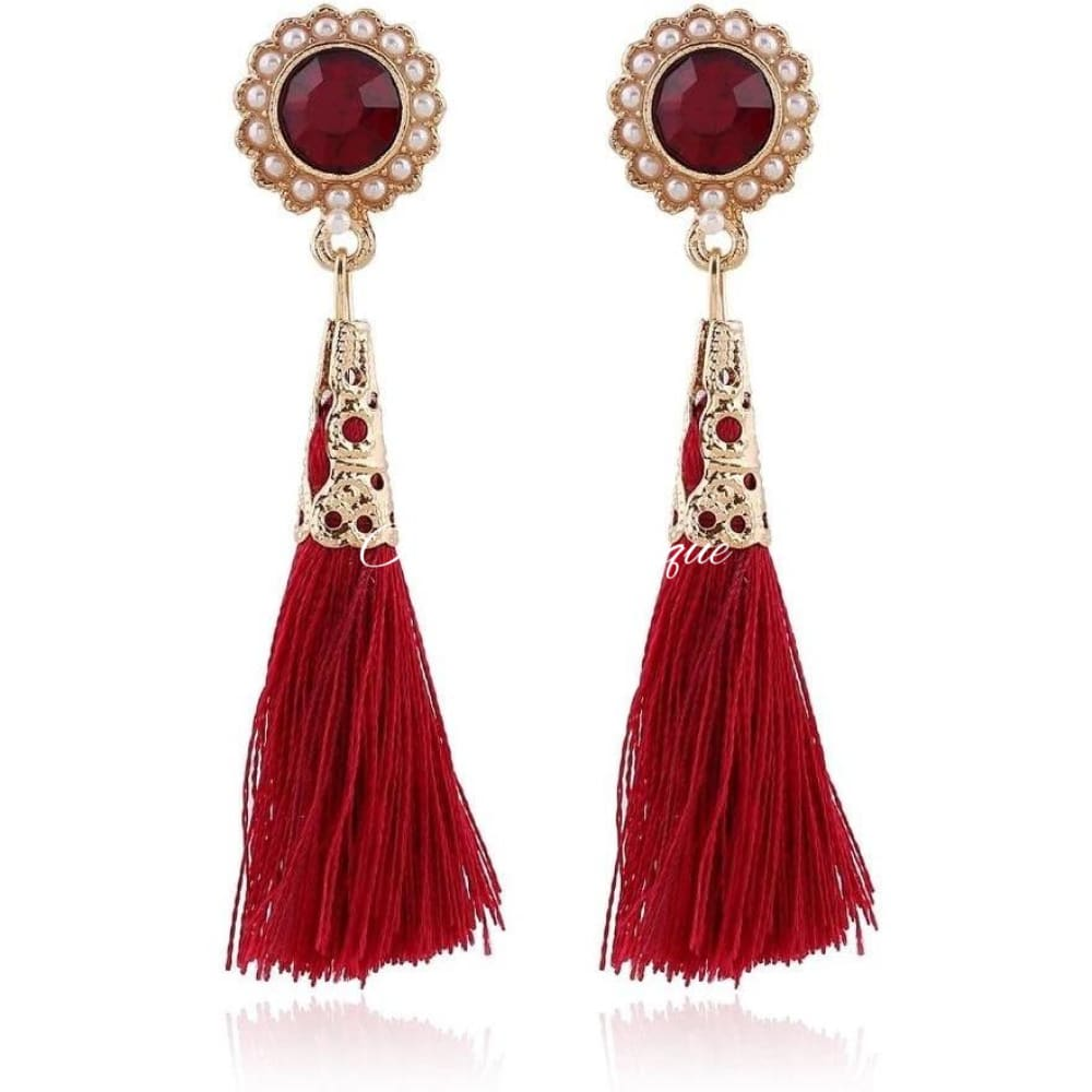 Ruby Pearl Tassel Earrings Earrings