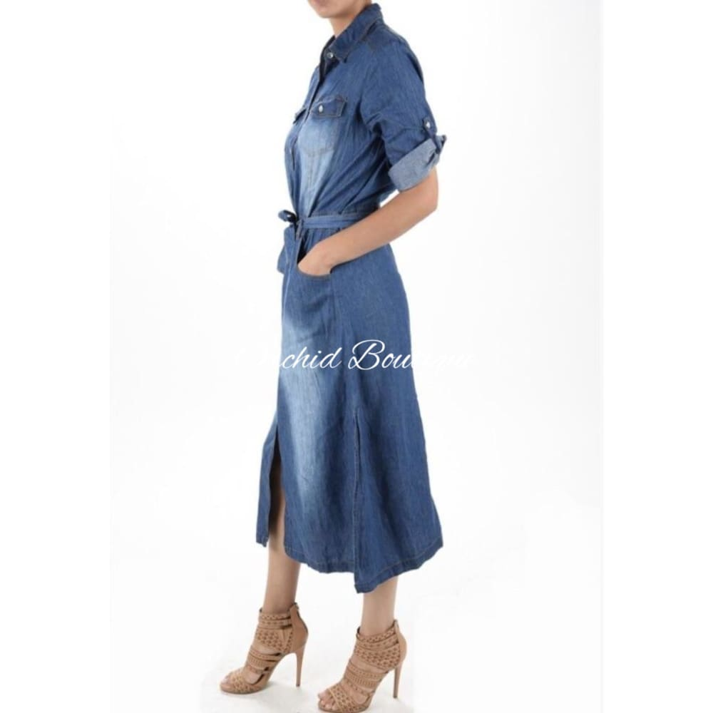 Sam Medium Wash Denim Midi Shirt Dress Dresses