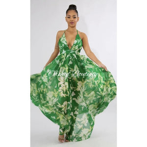 Sasha Green Floral Maxi Dress Dresses