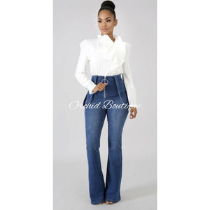 Sophisticated White Ruffle Top Bodysuit